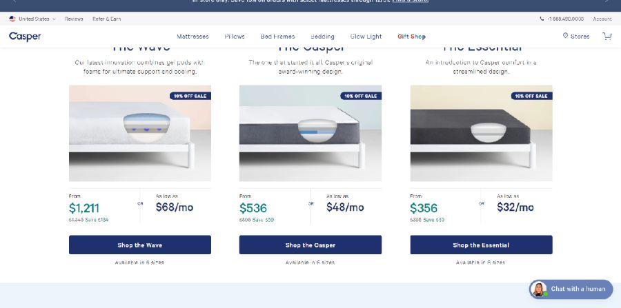 Casper Mattress pricing