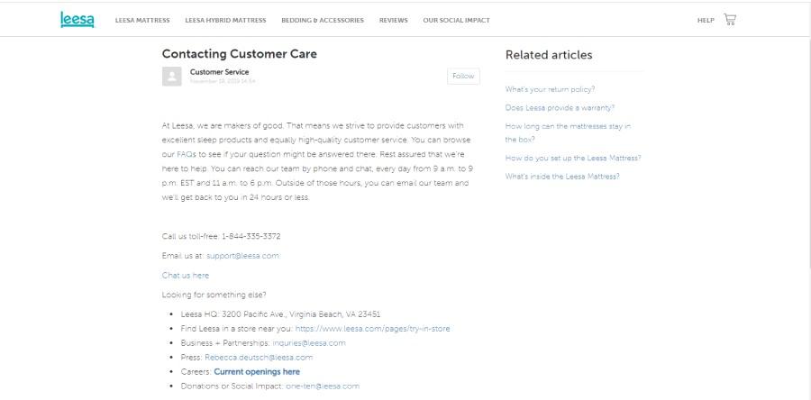 Leesa mattresses customer care details