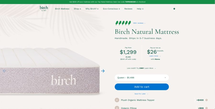 Birch Natural Mattress. By Helix