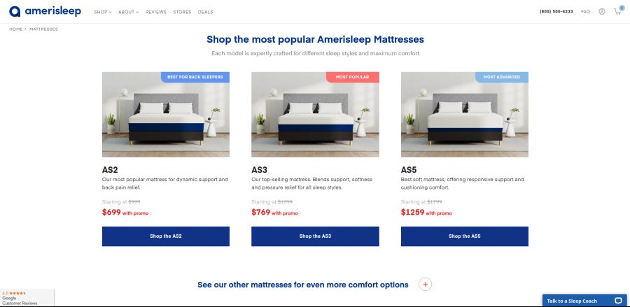 shop the most popular Amerisleep Mattresses