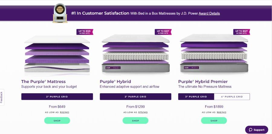 Purple Mattress cost and offers